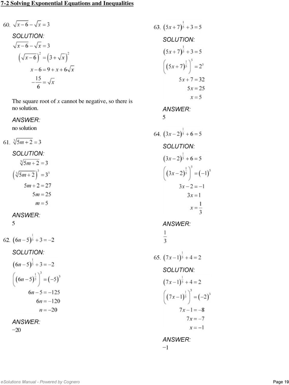 7-2 Solving Exponential Equations and Inequalities. Solve ...
