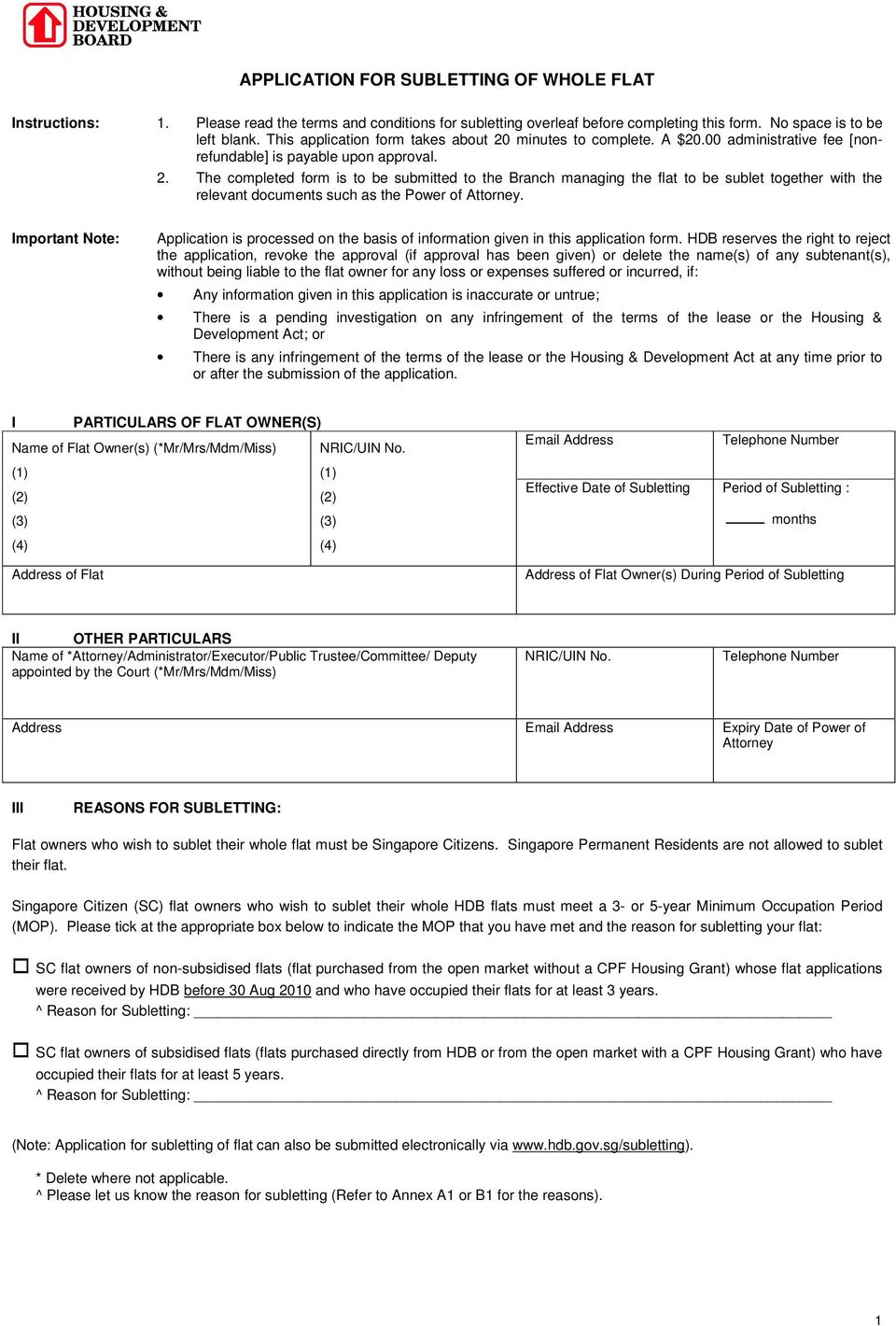 Application For Subletting Of Whole Flat Pdf