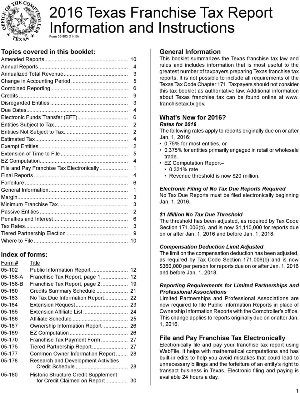 2016 Texas Franchise Tax Report Information And Instructions Form