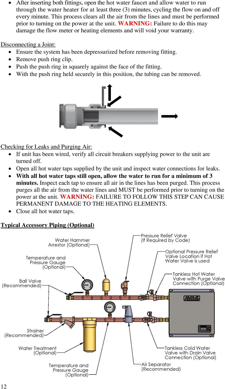 Installation Operation And Maintenance Manual For The Hubbell Piping Diagram Tankless Water Heater Warning Failure To Do This May Damage Flow Meter Or Heating Elements Will