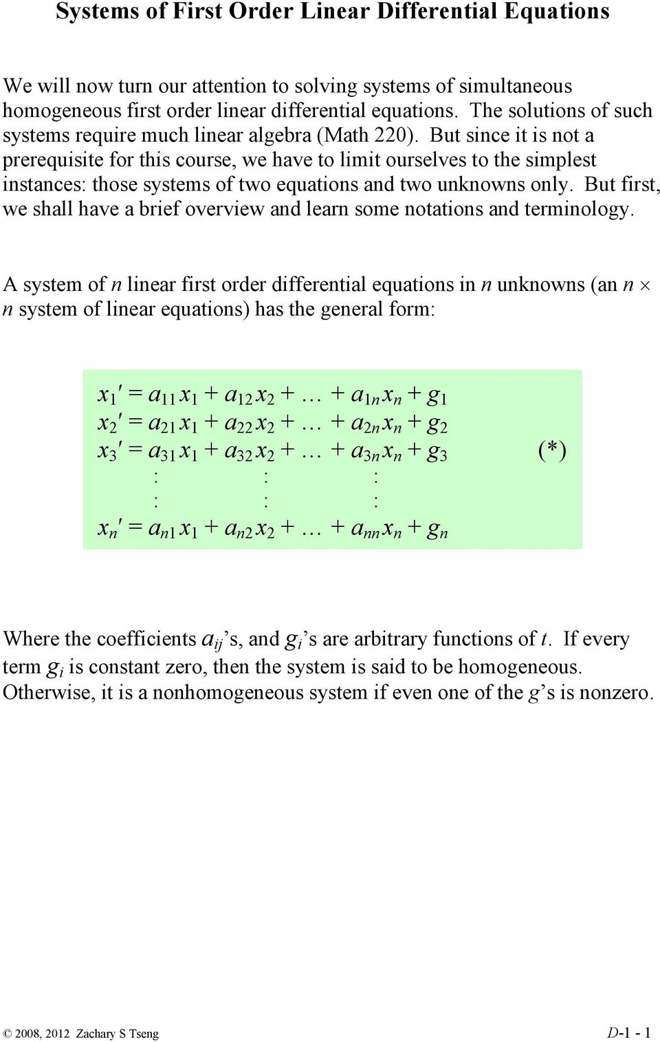 Systems of First Order Linear Differential Equations - PDF