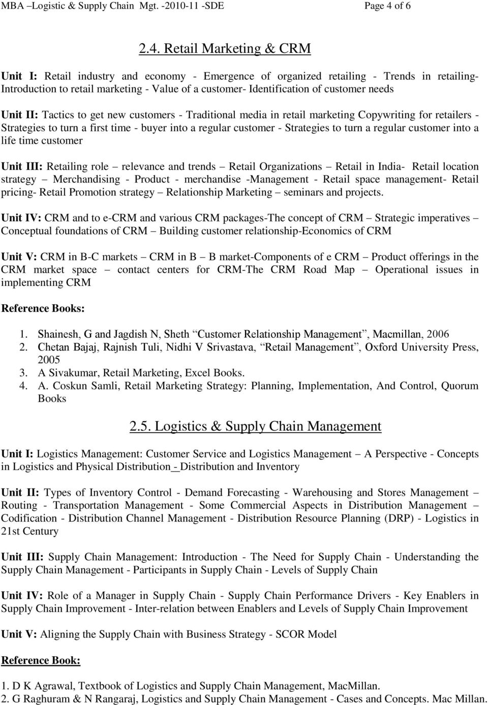 M B A Logistic and Supply Chain Management (Annaul Pattern) - PDF