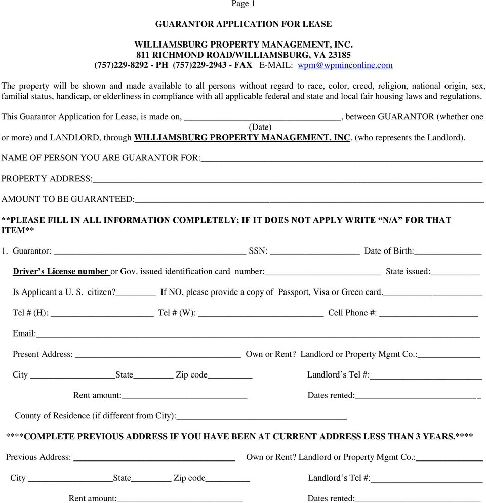 Page 1 Guarantor Application For Lease Pdf
