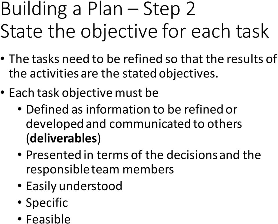 Each task objective must be Defined as information to be refined or developed and