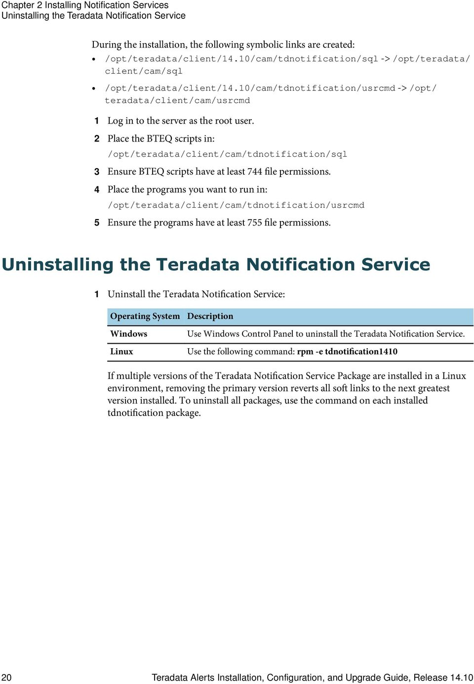 2 Place the BTEQ scripts in: /opt/teradata/client/cam/
