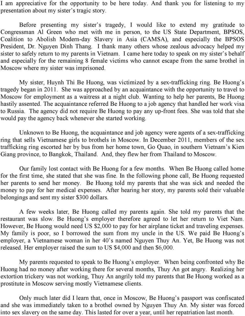 Statement of Ms  Hui Danh Sister of a Vietnamese Victim Sold