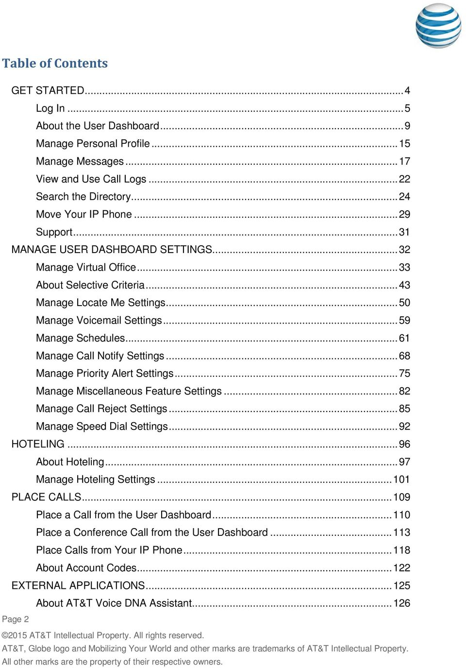 .. 59 Manage Schedules... 61 Manage Call Notify Settings... 68 Manage Priority Alert Settings... 75 Manage Miscellaneous Feature Settings... 82 Manage Call Reject Settings.