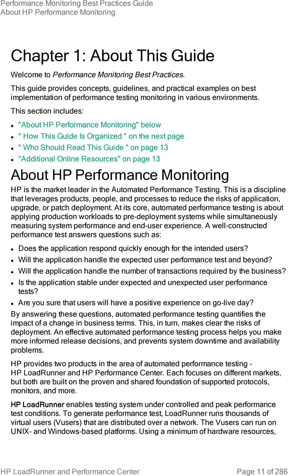 HP LoadRunner and Performance Center  Performance Monitoring
