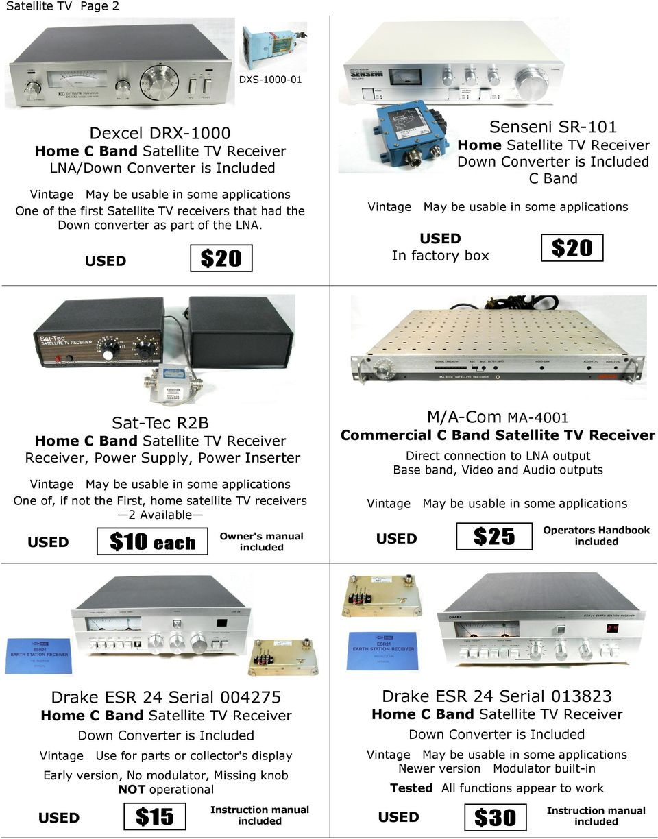 each Owner's manual M/A-Com MA-4001 Commercial C Band Satellite TV