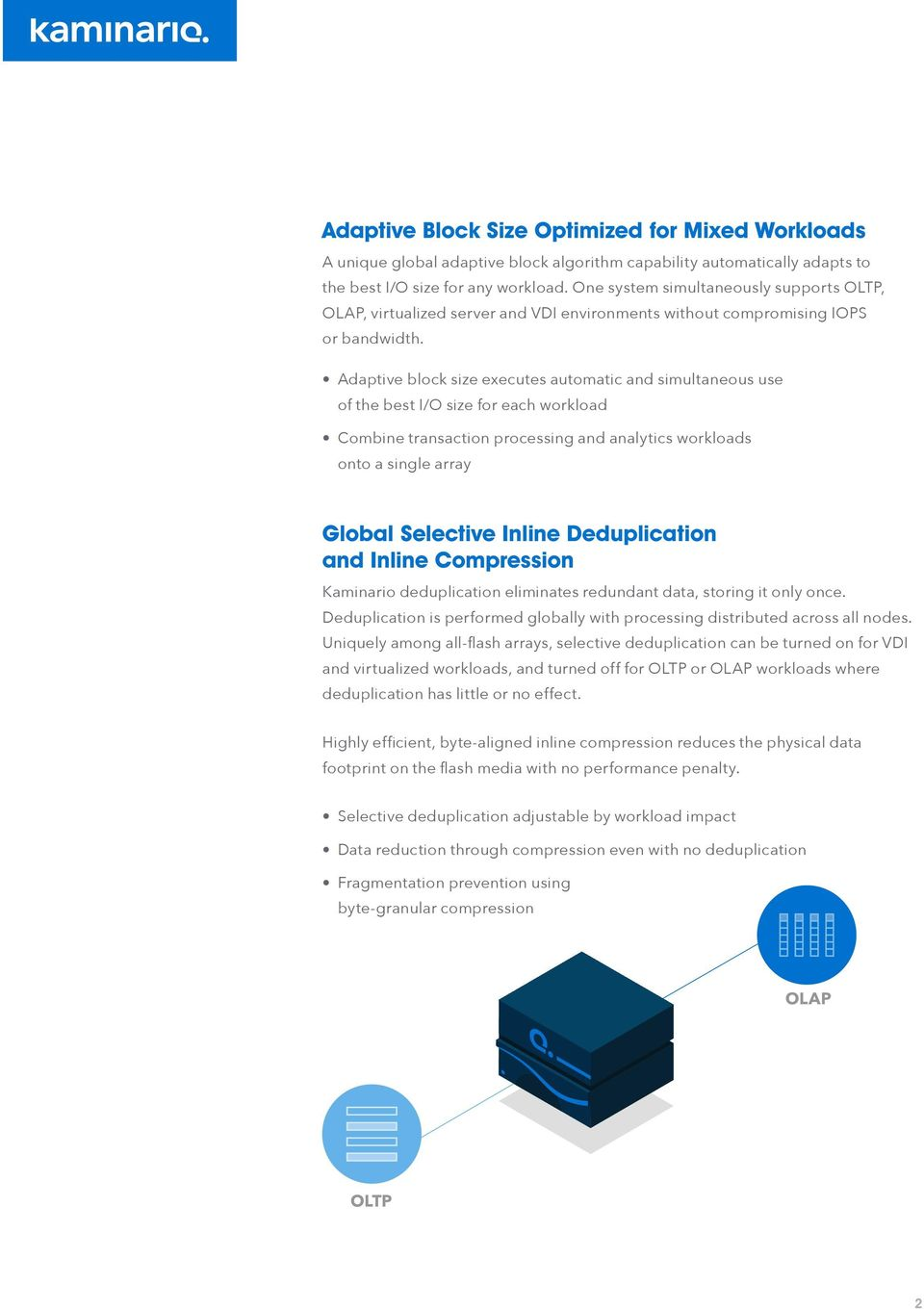Adaptive block size executes automatic and simultaneous use of the best I/O size for each workload Combine transaction processing and analytics workloads onto a single array Global Selective Inline