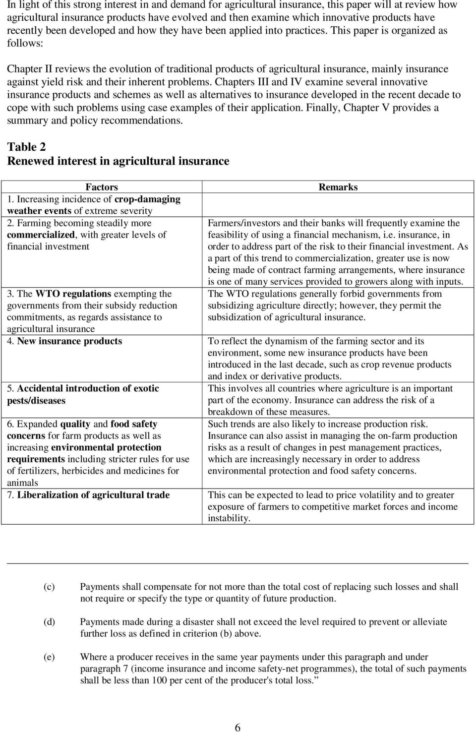 This paper is organized as follows: Chapter II reviews the evolution of traditional products of agricultural insurance, mainly insurance against yield risk and their inherent problems.