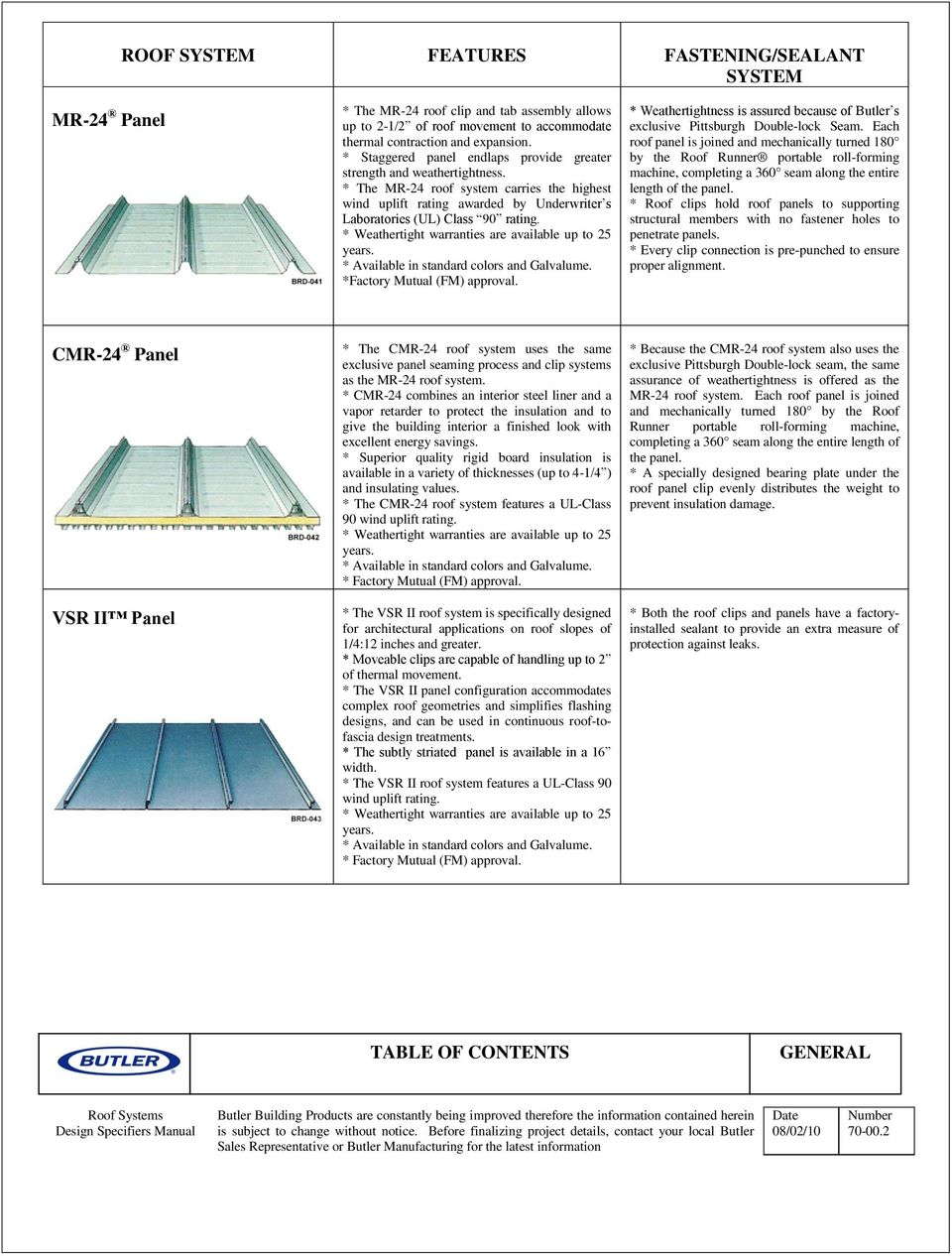 Csi Specifications Mr 24 Roof Details Mr 24 Roof