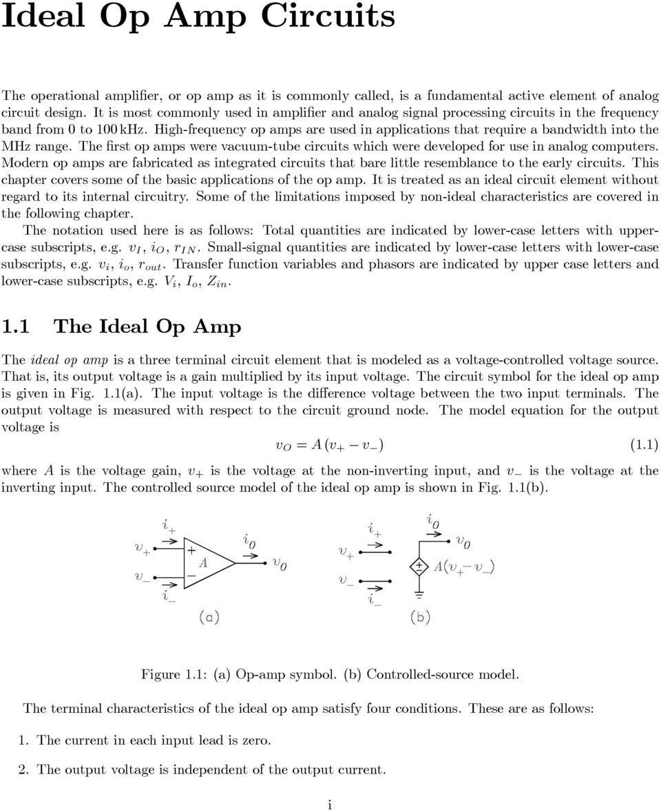 Ideal Op Amp Circuits Pdf Dark Active Switch Circuit 741 Opamp Electronics Projects The First Amps Were Vacuum Tube Which Developed For Use In Analog