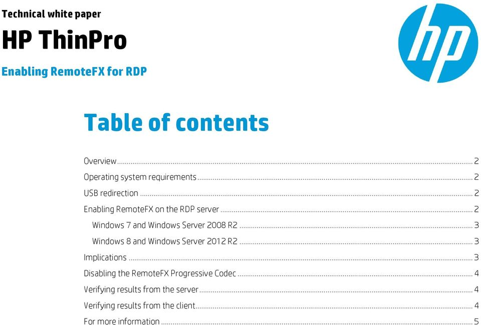 HP ThinPro  Table of contents  Enabling RemoteFX for RDP
