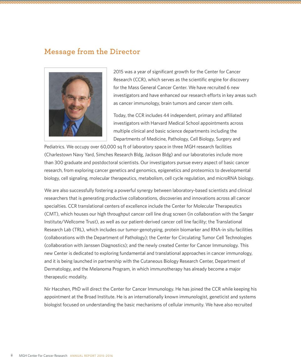 CENTER FOR CANCER RESEARCH  Annual Report - PDF