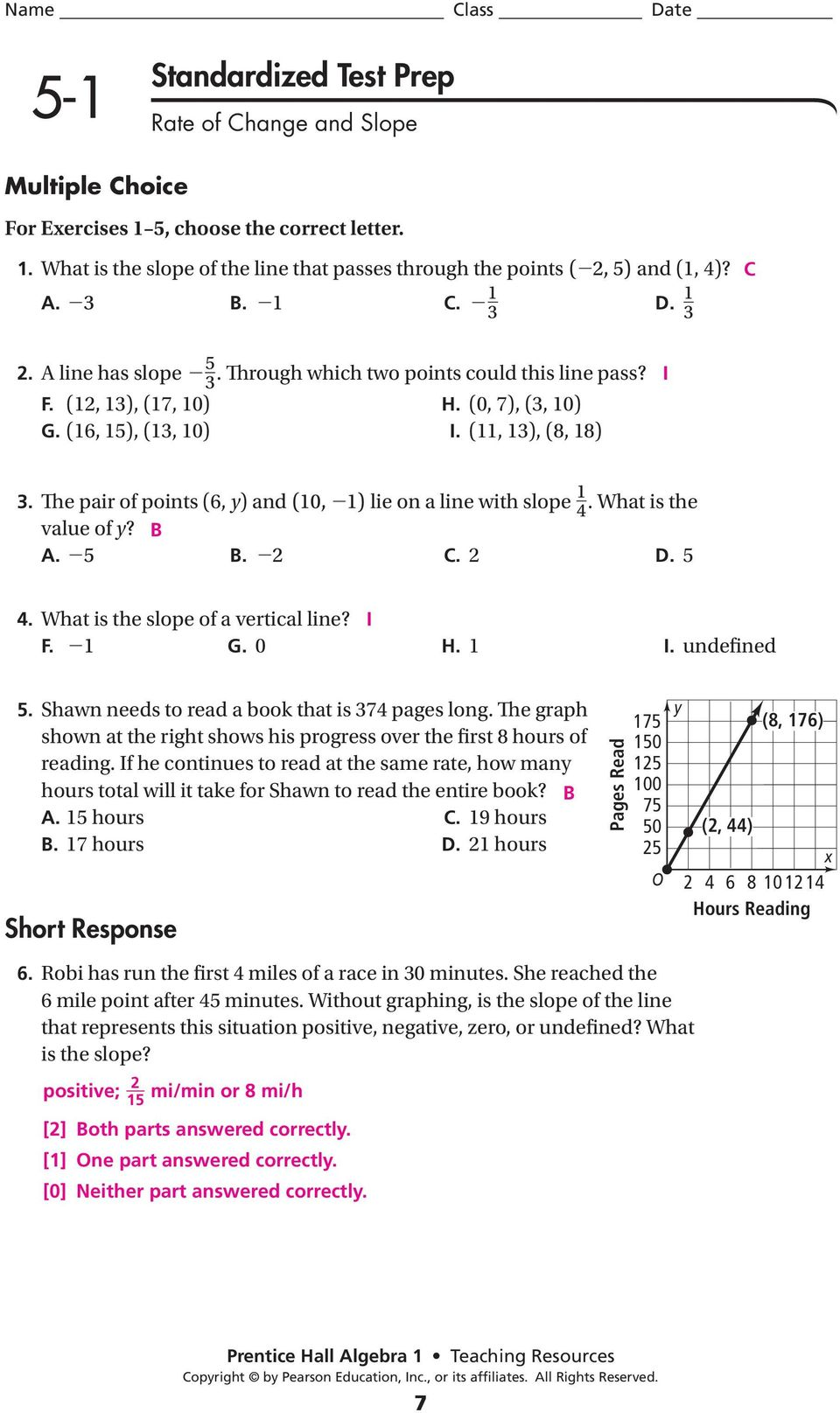 Module linear equations lesson 1 finding slope homework answers
