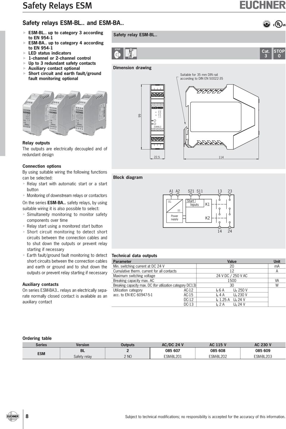 Safety Relays Esm F Pdf Lightdark Switch With Relay Schematic Diagram Wiring Monitoring Optional Bl Dimension Drawing Suitable For 35 Mm Din