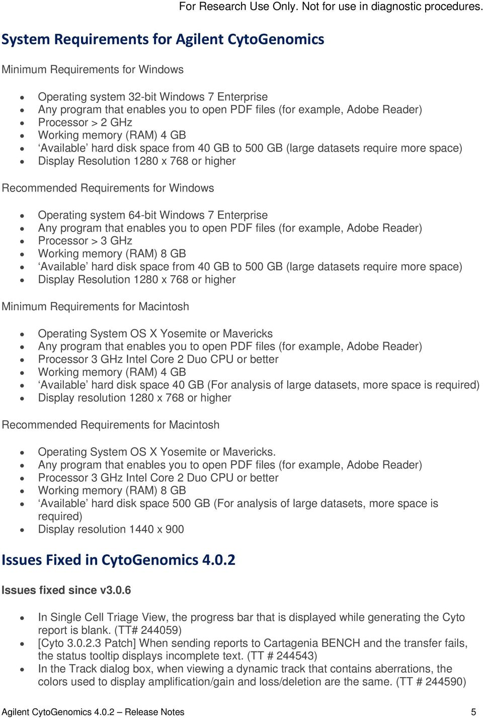 release notes agilent cytogenomics v for research use only not for