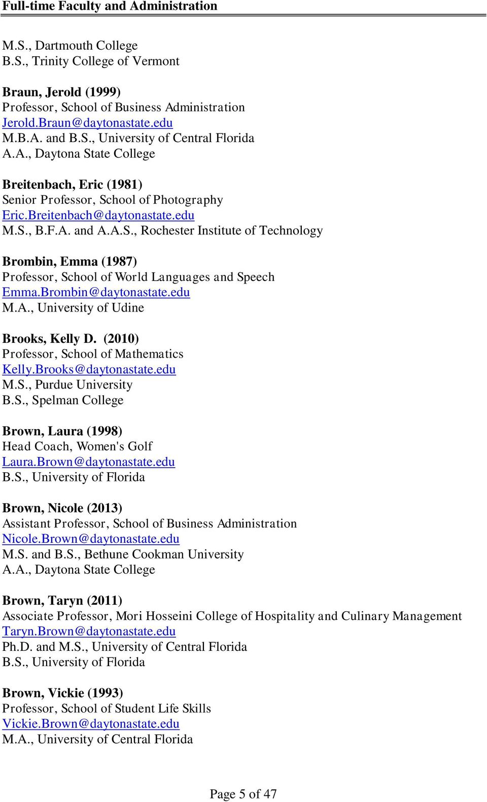 Full-time Faculty and Administration - PDF