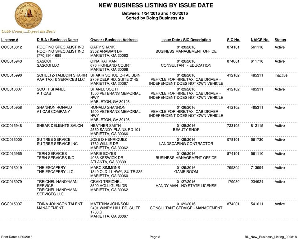 NEW BUSINESS LISTING BY ISSUE DATE - PDF