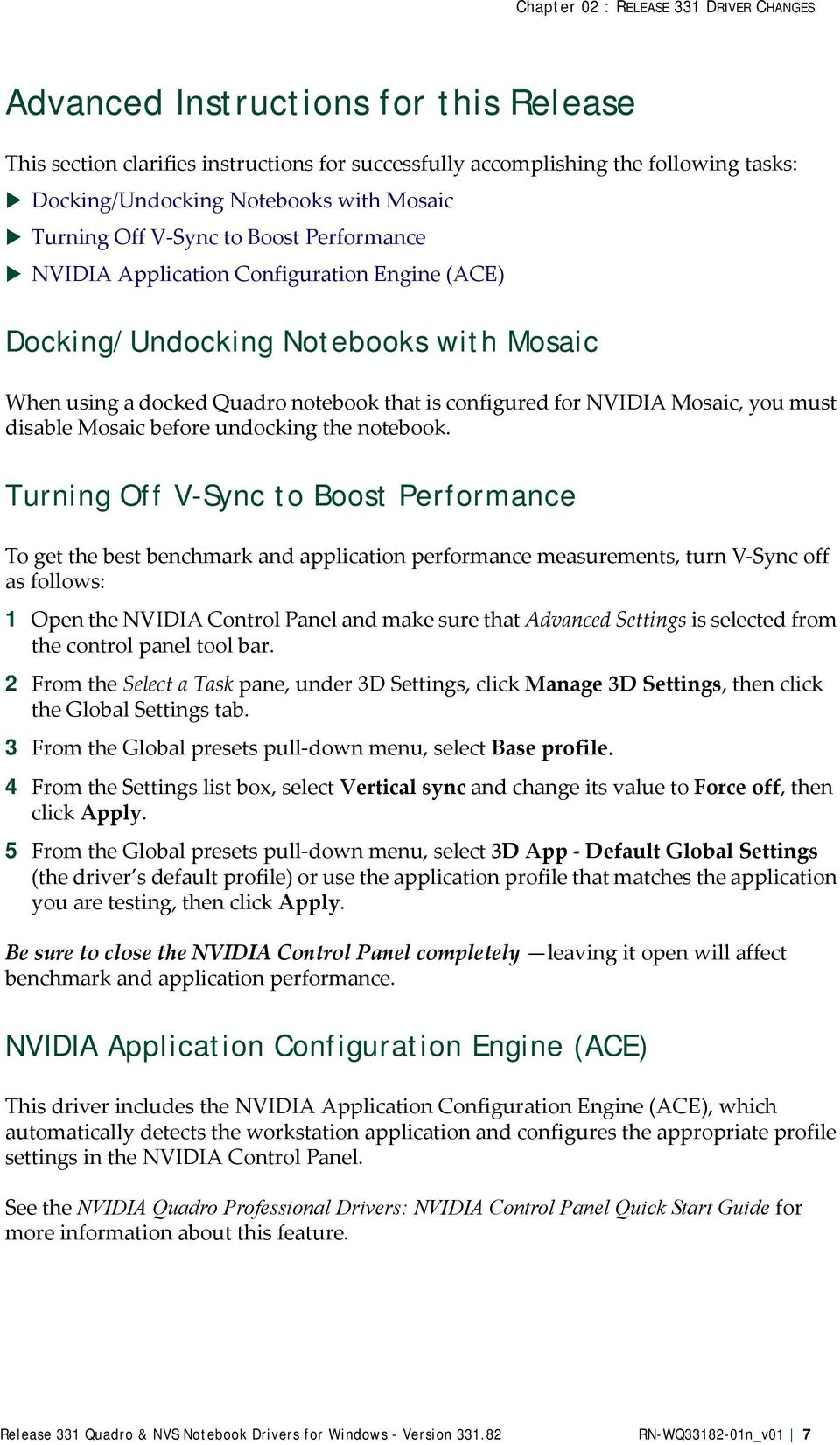 Release 331 Quadro & NVS Notebook Drivers for Windows - Version - PDF