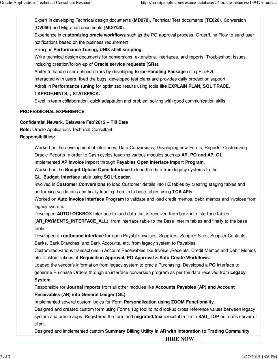 ORACLE APPLICATIONS TECHNICAL CONSULTANT RESUME - PDF