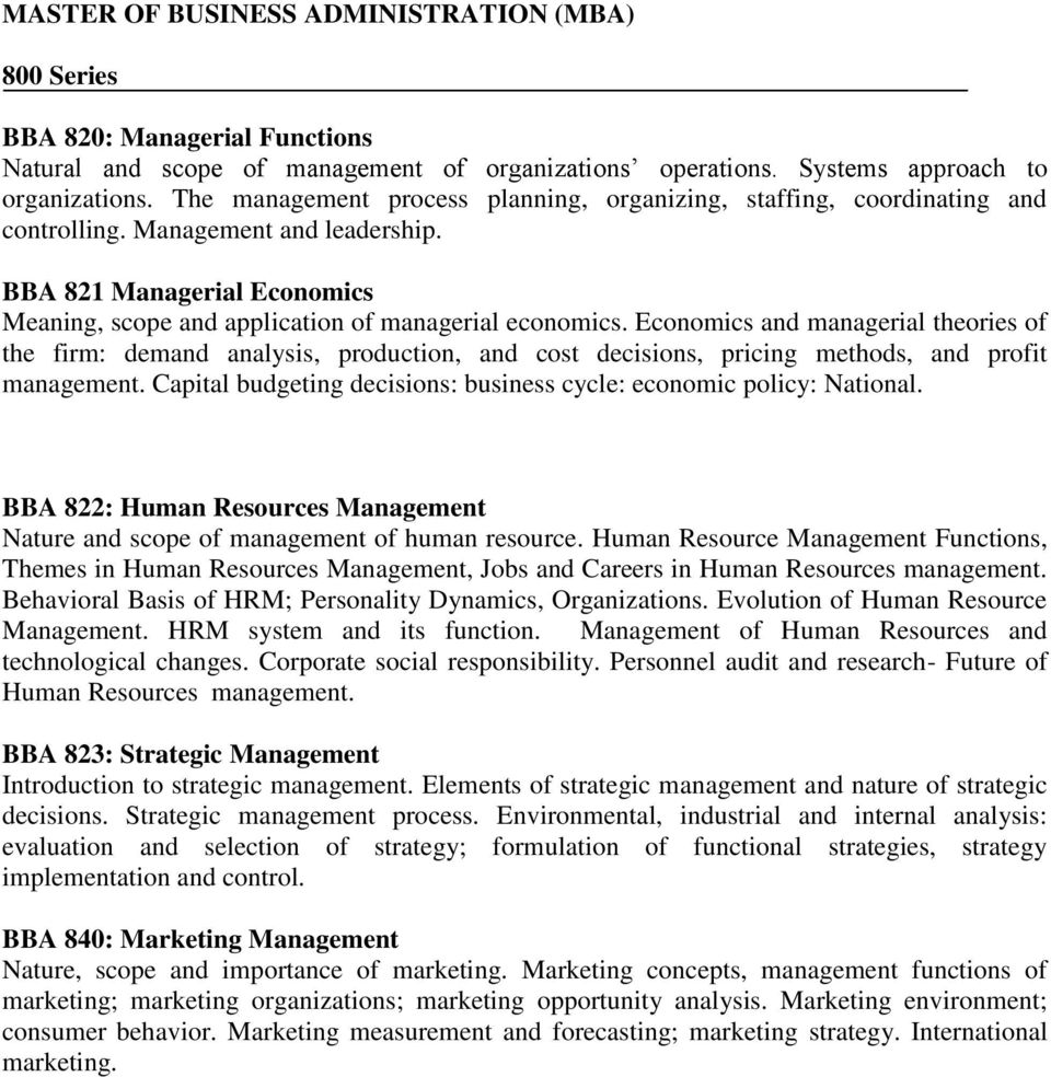 Master Of Business Administration Mba 800 Series Pdf