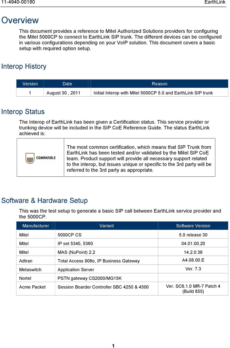 Technical  Configuration Notes  MITEL SIP CoE  Configure the