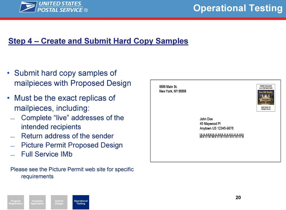 Complete live addresses of the intended recipients Return address of the sender Picture