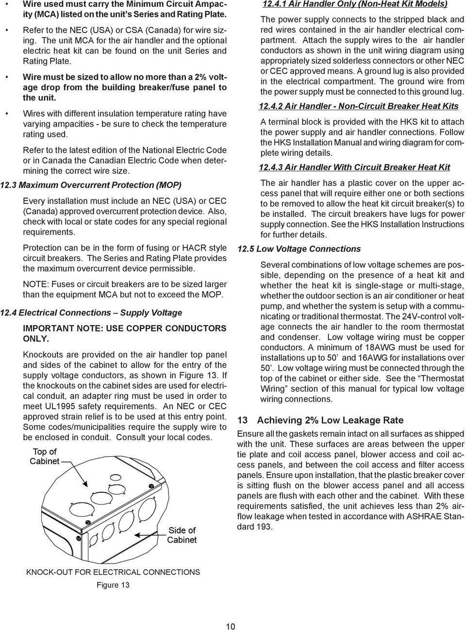 Avptc14 Air Handlers Installation Operating Instructions Pdf 2 Ton Goodman Heat Kit Wiring Diagram Wire Must Be Sized To Allow No More Than A Voltage Drop From The Building