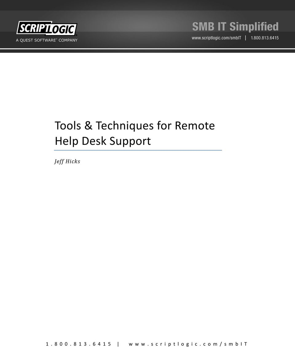 Tools & Techniques for Remote Help Desk Support - PDF