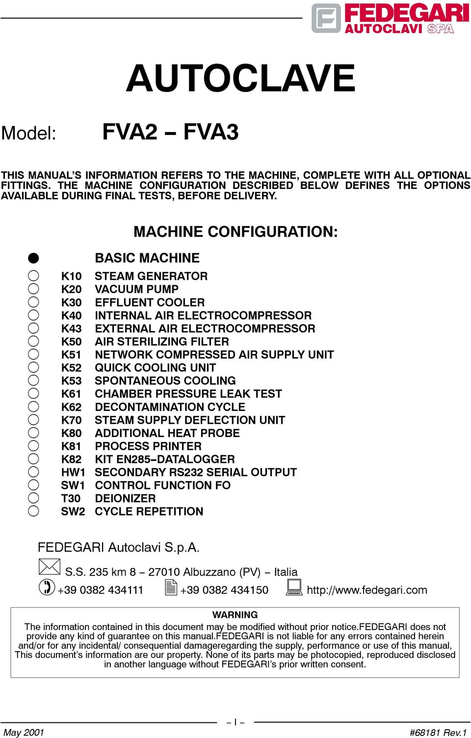 OPERATING MANUAL STERILIZER MOD  FVA  Document Code: #68181 Rev 1 - PDF