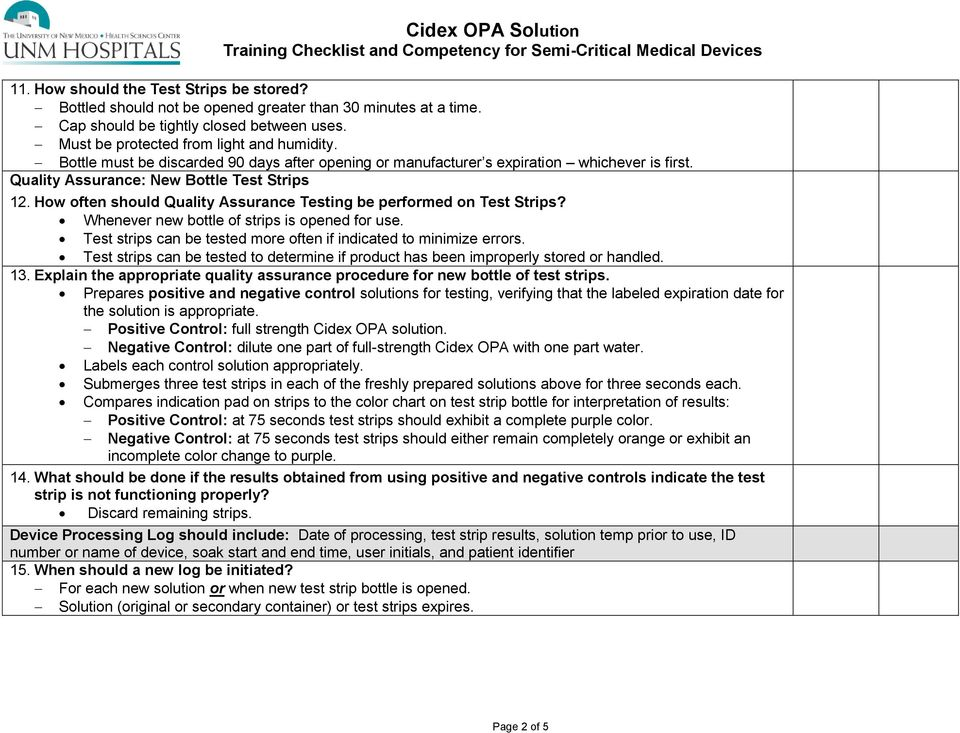 Cidex Opa Solution Training Checklist And Competency For Semi