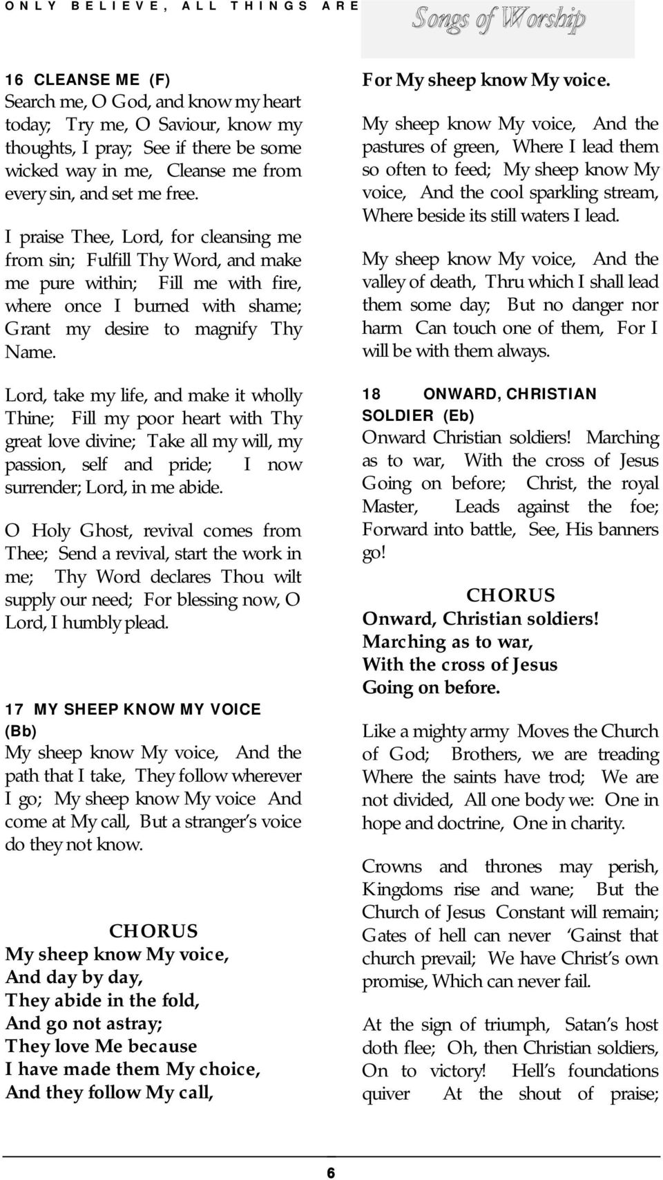 SONGS OF WORSHIP  Sung by William Marrion Branham  Only Believe - PDF