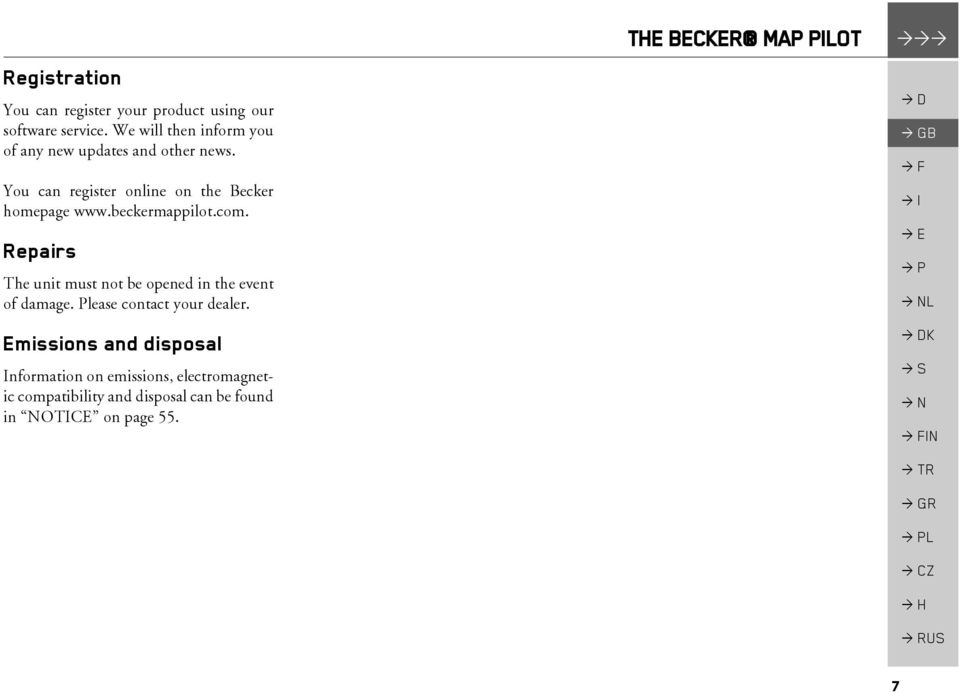 Becker MAP PILOT Operating guide - PDF