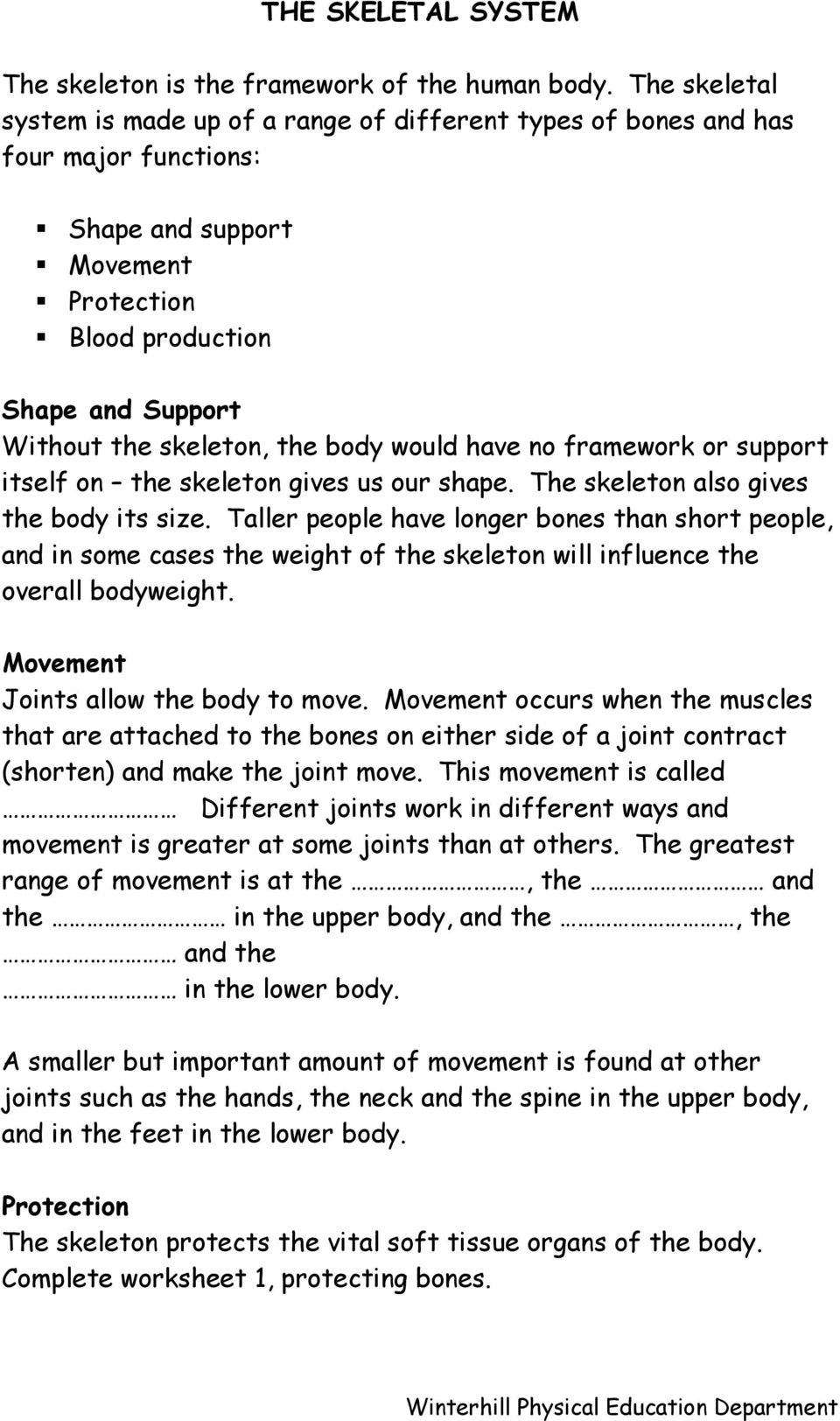 Worksheets Joints And Movement Worksheet skeleton and joints g c s e physical education unit 1 factors body would have no framework or support itself on the gives us our shape