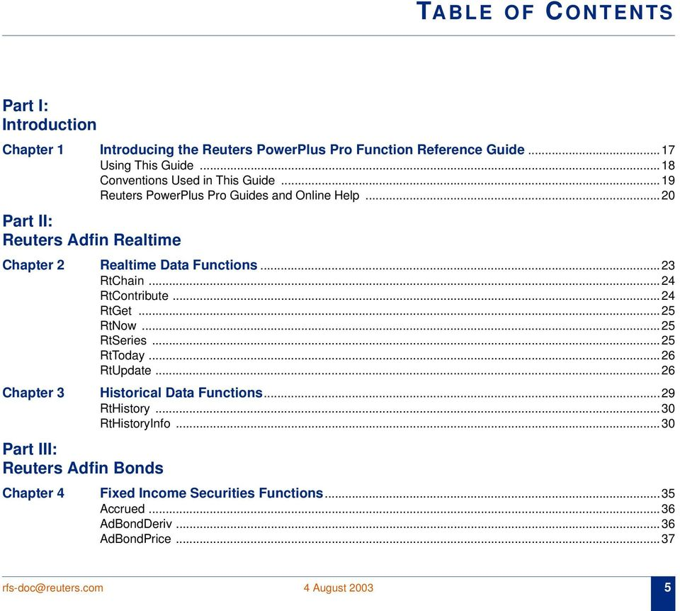 Reuters PowerPlus Pro Function Reference Guide - PDF
