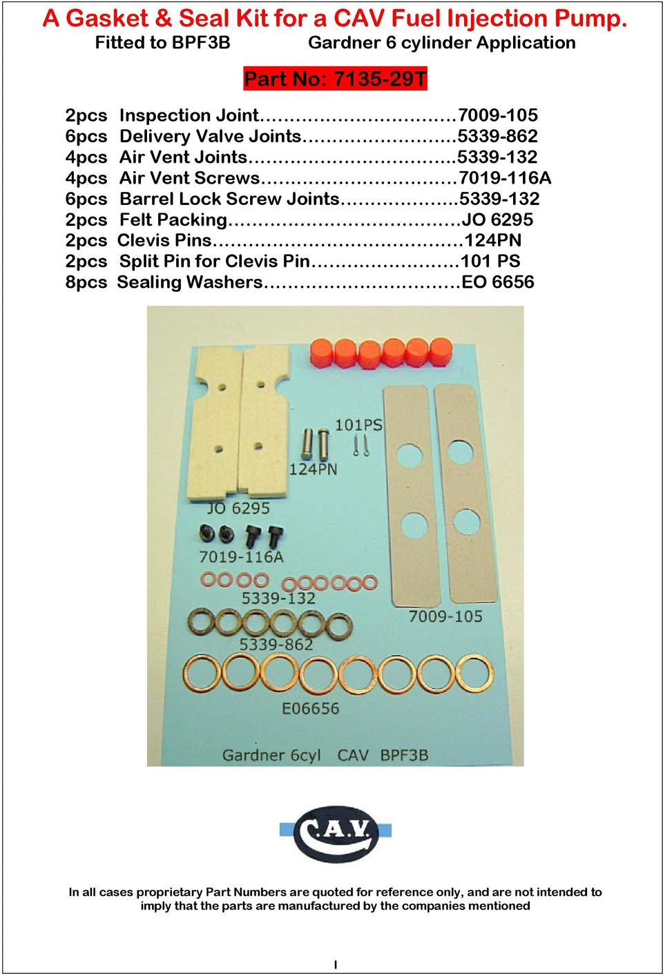 a gasket seal kit for a cav fuel injection pump fitted to aal r