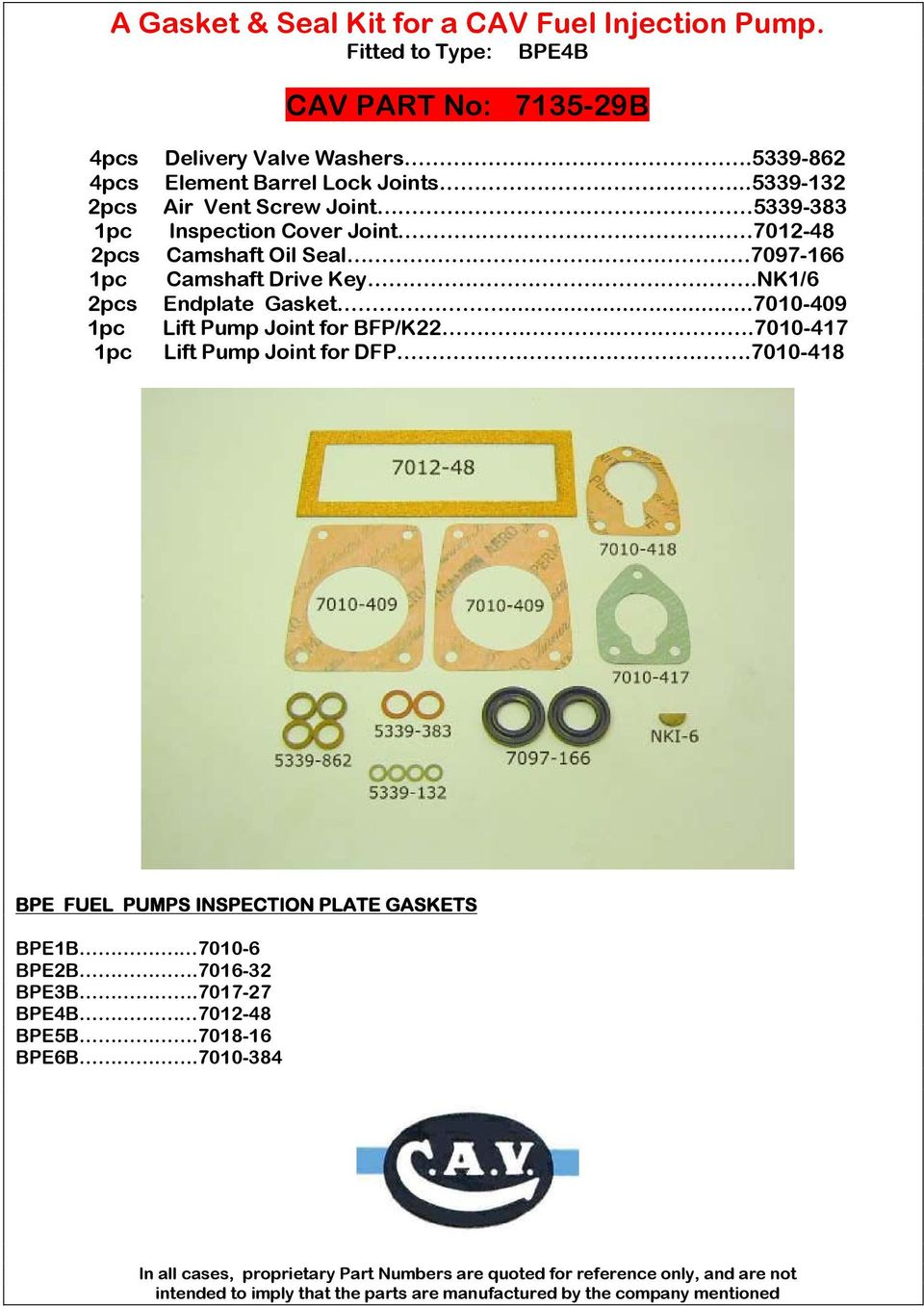 A Gasket Seal Kit For Cav Fuel Injection Pump Fitted To Aal R Diagram Further On 7010 409 Lift Joint Bfp K227010