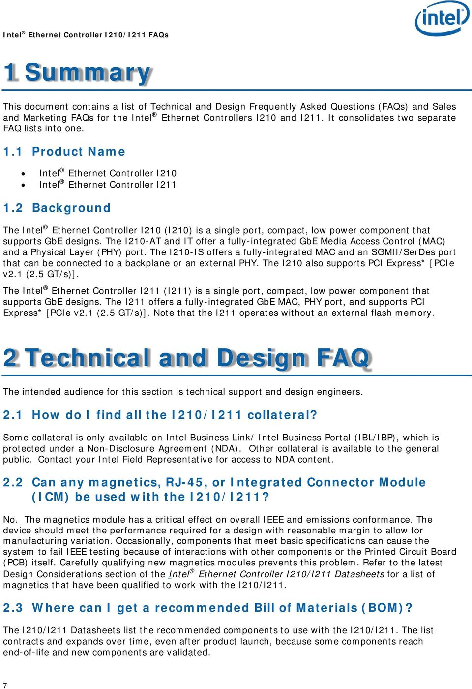 Intel Ethernet Controller I210/I211 Frequently Asked Questions - PDF