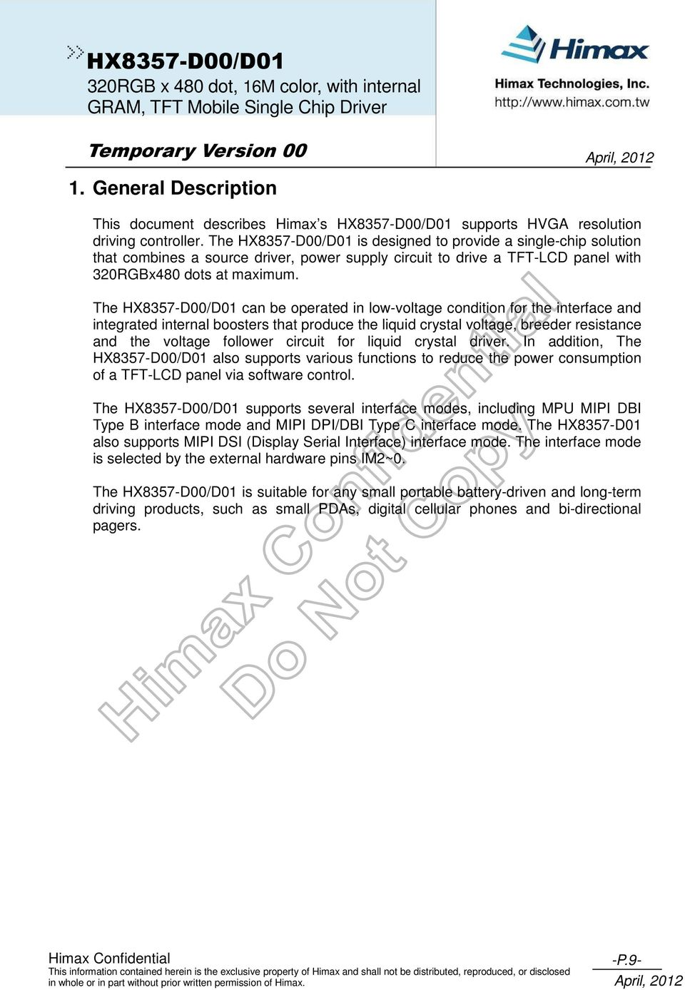 DATA SHEET ( DOC No  HX8357-D00/D01-DS ) HX8357-D00/D01 - PDF