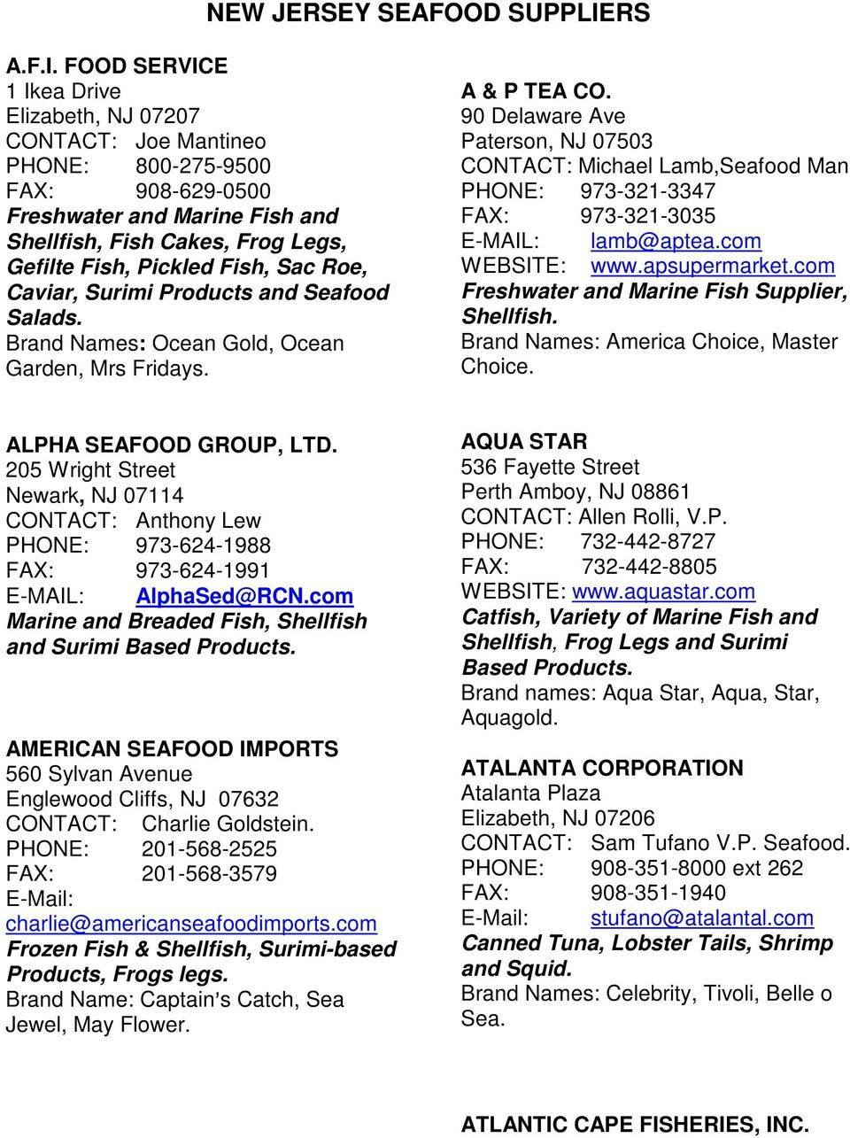 NEW JERSEY SEAFOOD SUPPLIERS - PDF