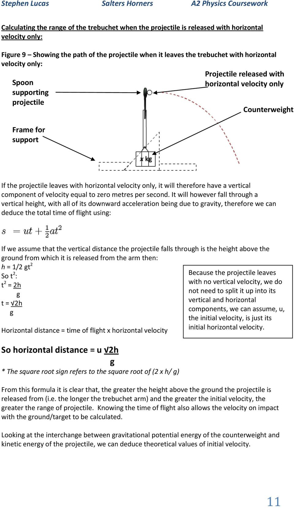What Affects The Range Of A Trebuchet Pdf Diagram Our Vertical Component Velocity Equal To Zero Metres Per Second
