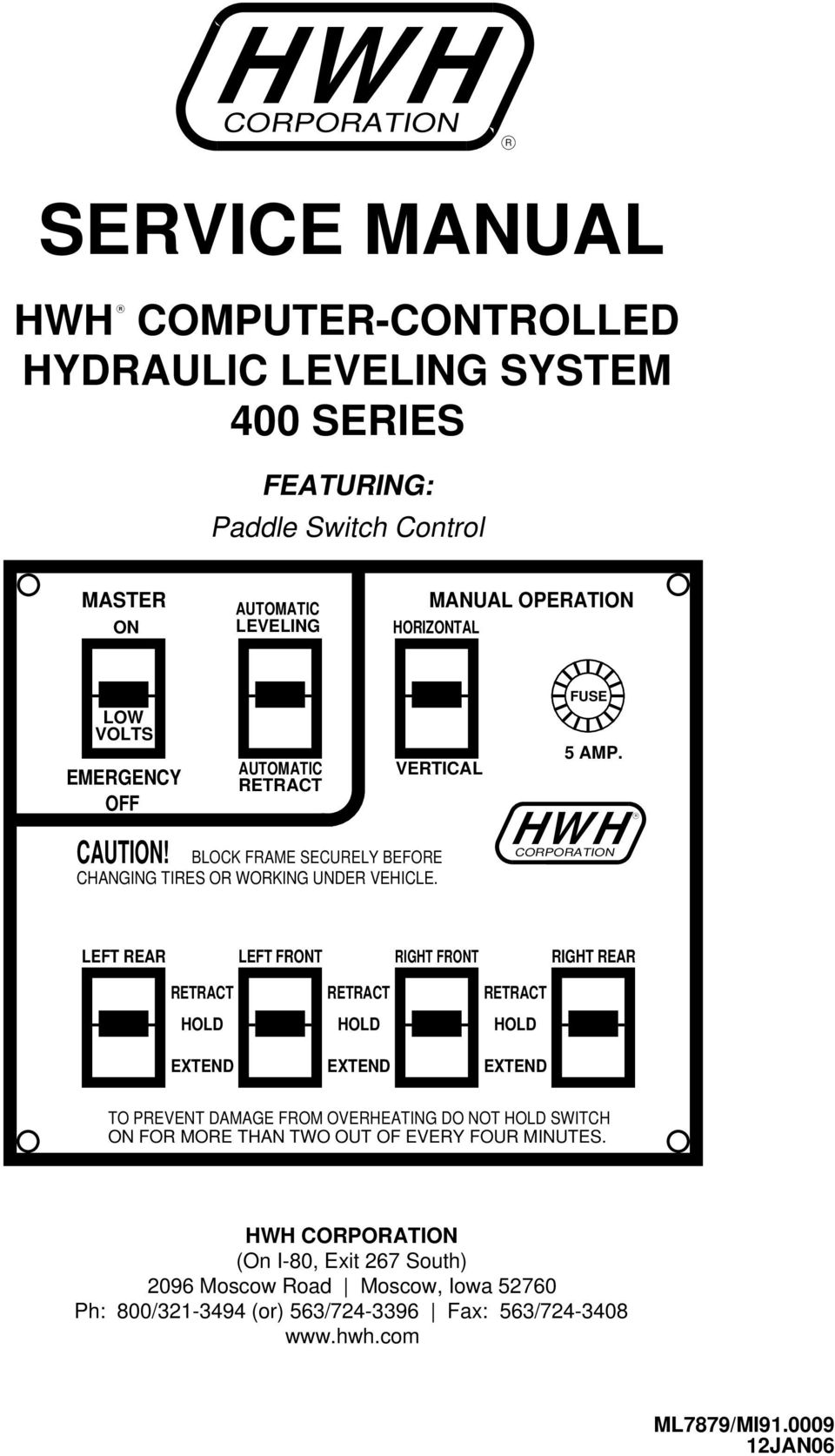 HWH R CORPORATION TO PREVENT DAMAGE FROM OVERHEATING DO NOT SWITCH HWH  CORPORATION (On I