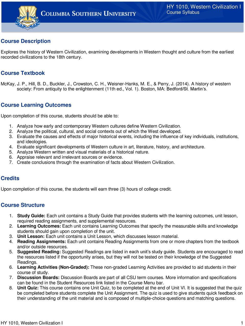 Boston, MA: Bedford/St. Martin s. Course Learning Outcomes Upon completion