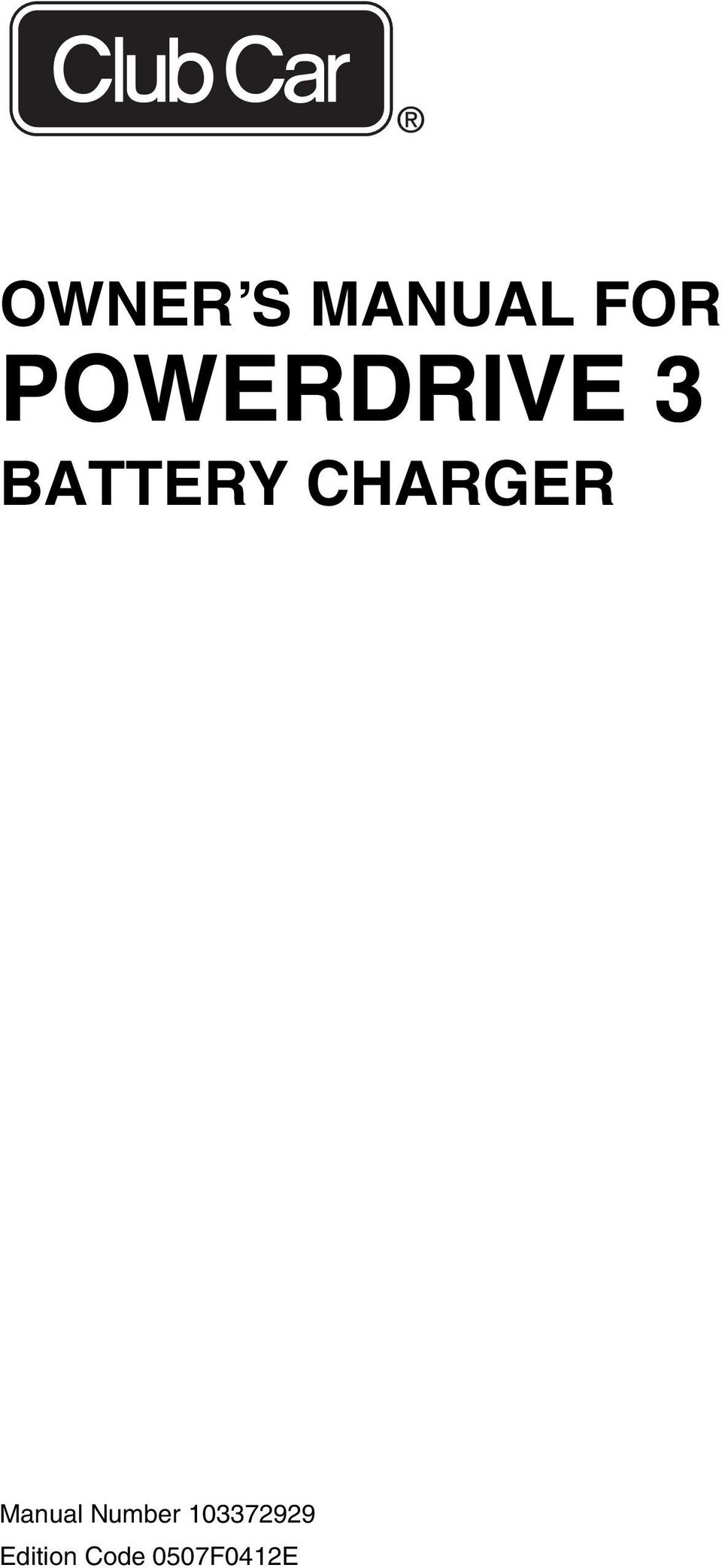 CHARGER Manual Number