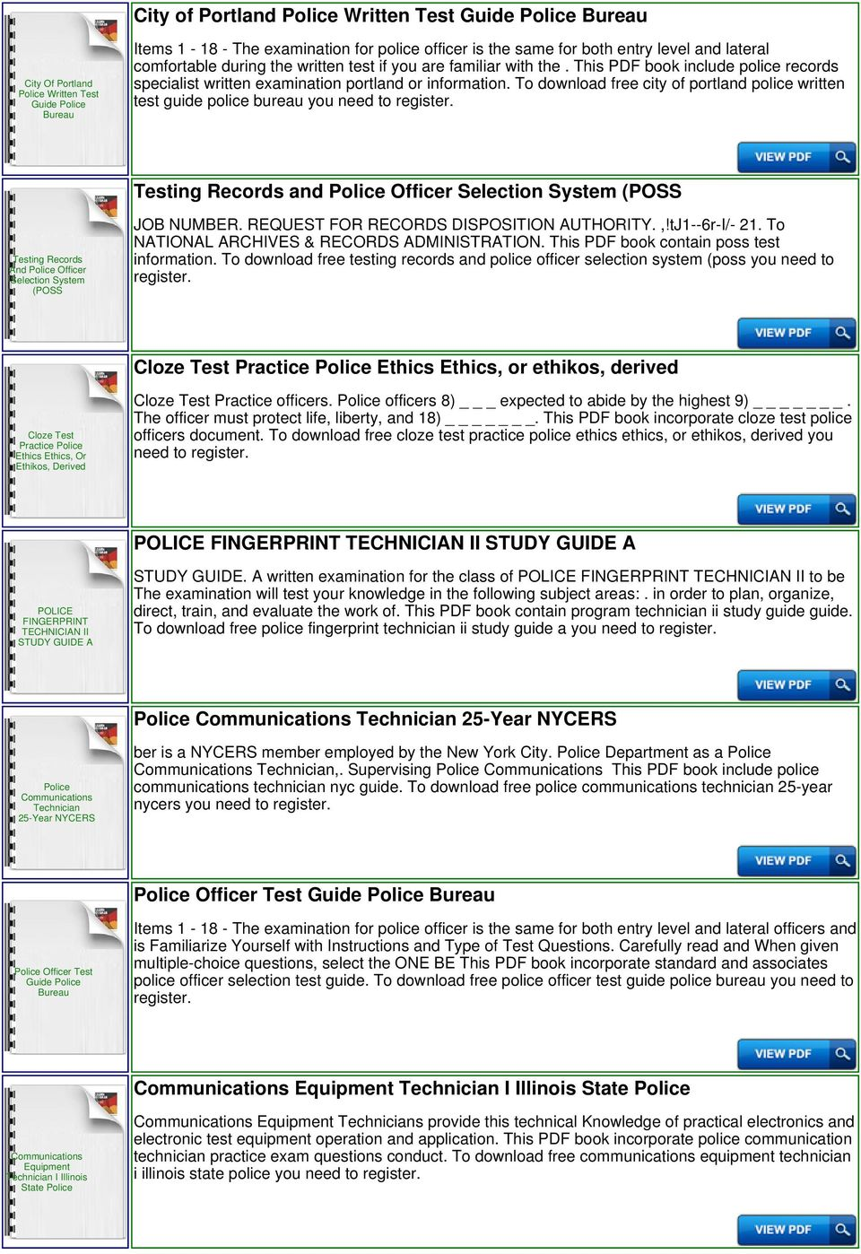 To download free city of portland police written test guide police bureau  you need to Testing