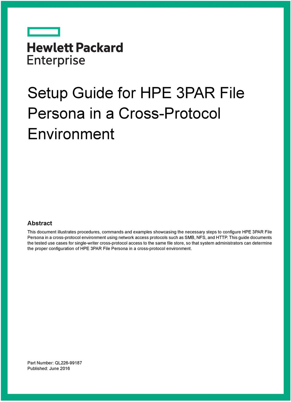 Setup Guide for HPE 3PAR File Persona in a Cross-Protocol