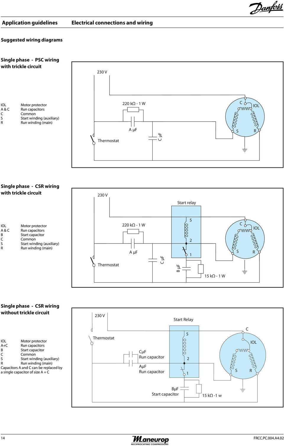 Maneurop Reciprocating Compressors Mt Mtz Hz R22 R407c R134a Wiring Diagram Air Pressor Hvac Superheat And Capacitors Start Capacitor Common Winding Auxiliary Run Main 220 K 15 Electrical Connections