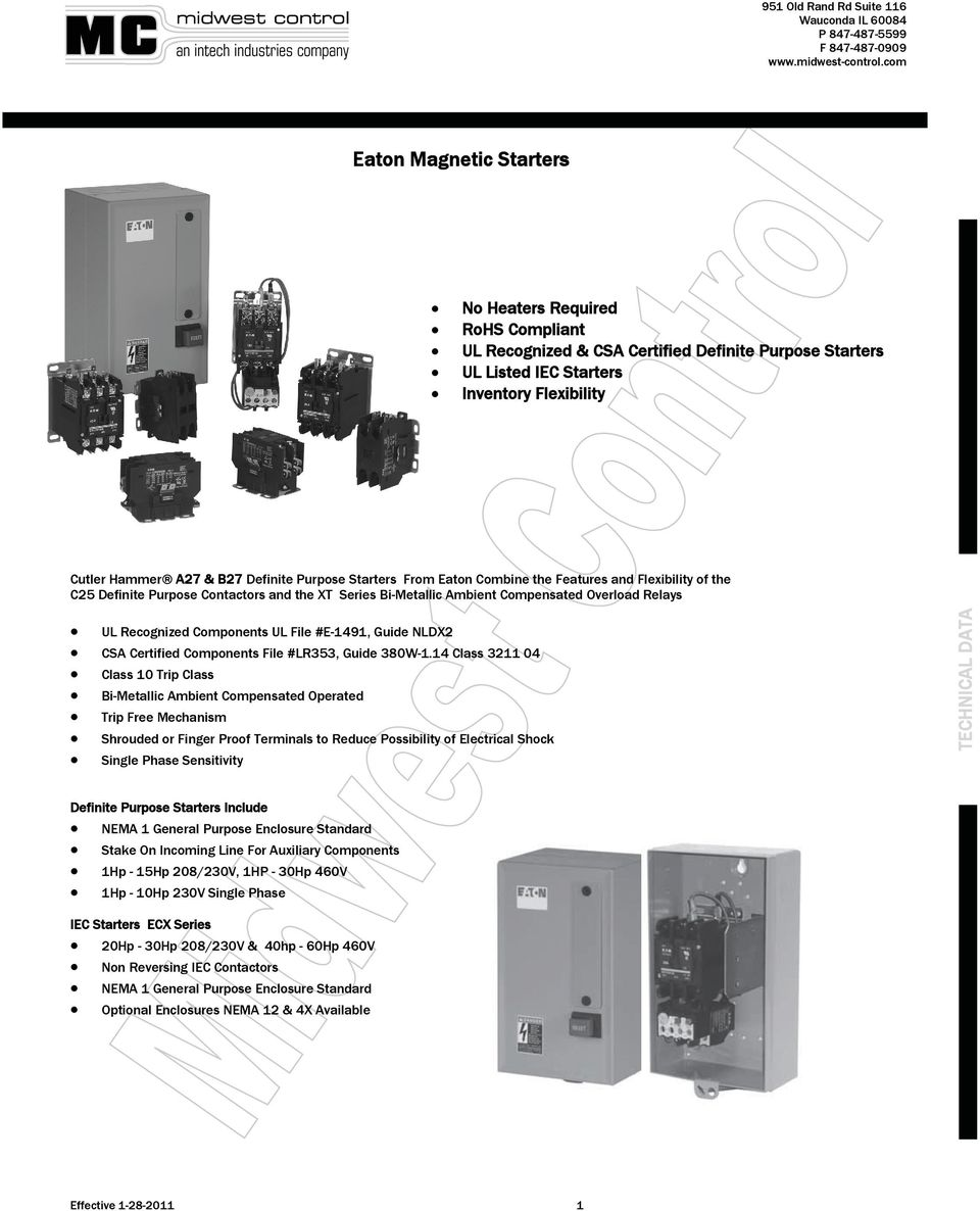 Eaton Magnetic Starters Pdf Electrical Relay Wiring Diagram Also Mag Ic Contactor With Overload E 1491 Guide Nldx2 Cs Certified Components File Lr353 380w
